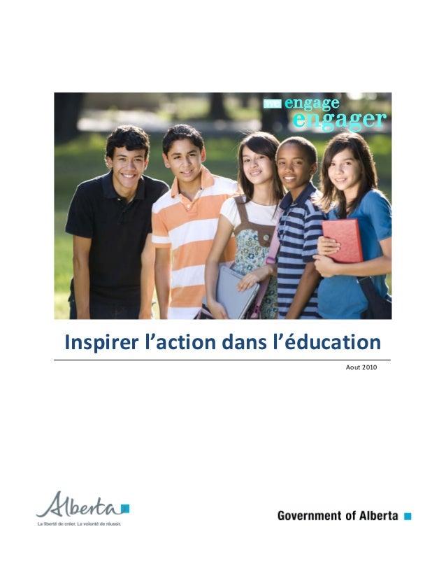 Inspirer l'action dans l'éducation Aout 2010