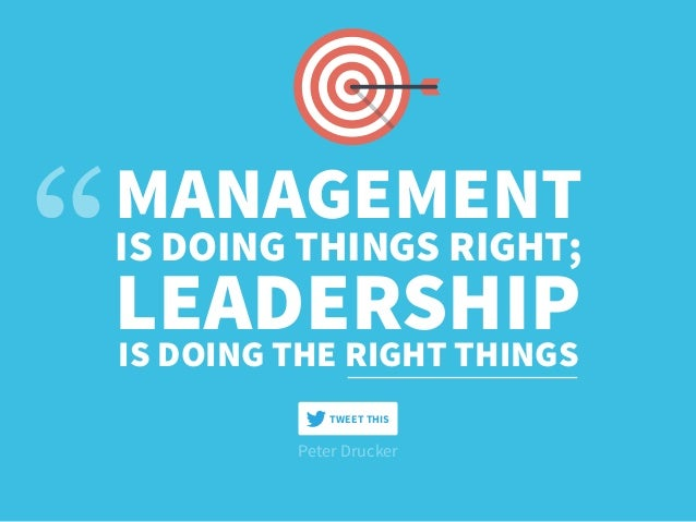 Peter Drucker MANAGEMENT IS DOING THINGS RIGHT; LEADERSHIPIS DOING THE RIGHT THINGS TWEET THIS