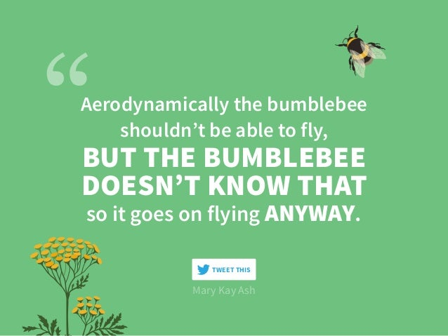 Aerodynamically the bumblebee shouldn't be able to fly, Mary Kay Ash BUT THE BUMBLEBEE DOESN'T KNOW THAT so it goes on fly...