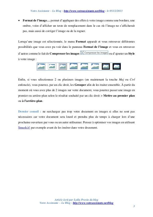 Votre Assistante – Le Blog : http://www.votreassistante.net/blog - le 05/12/2013    Format de l'image… permet d'appliquer...