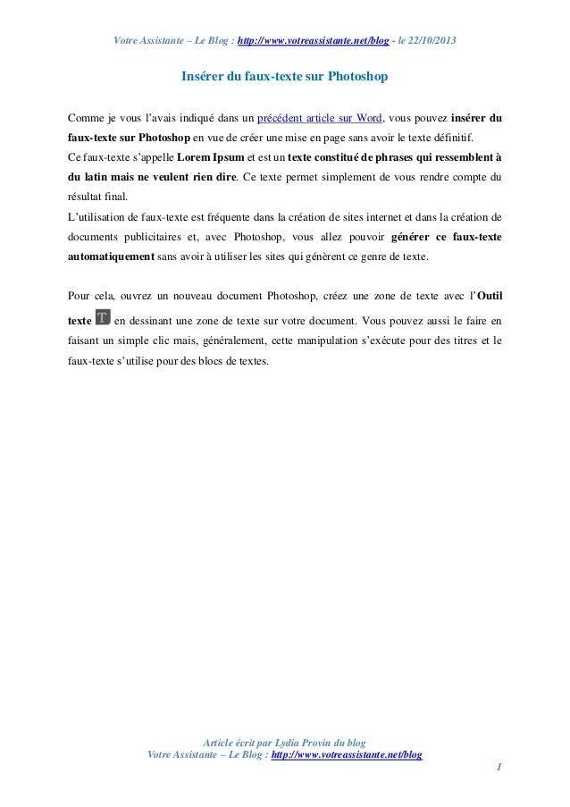 Votre Assistante – Le Blog : http://www.votreassistante.net/blog - le 22/10/2013  Insérer du faux-texte sur Photoshop Comm...