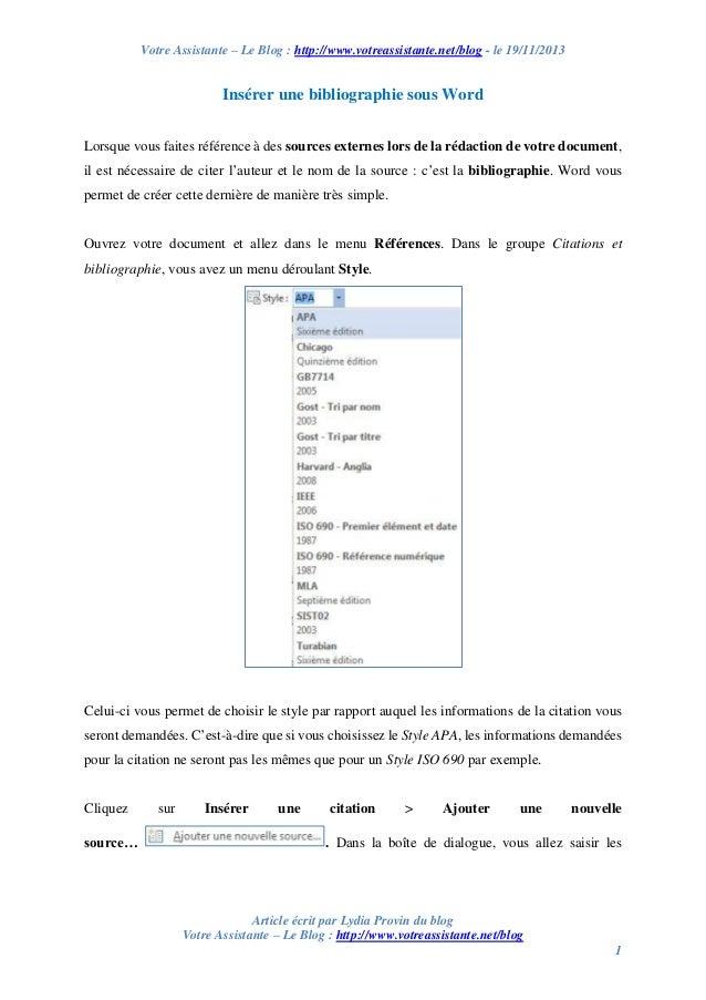 Votre Assistante – Le Blog : http://www.votreassistante.net/blog - le 19/11/2013  Insérer une bibliographie sous Word Lors...