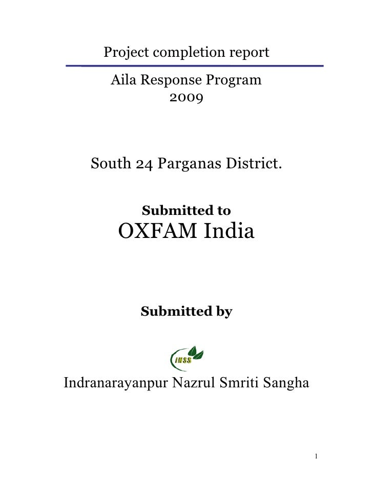 Project completion report       Aila Response Program                2009       South 24 Parganas District.             Su...