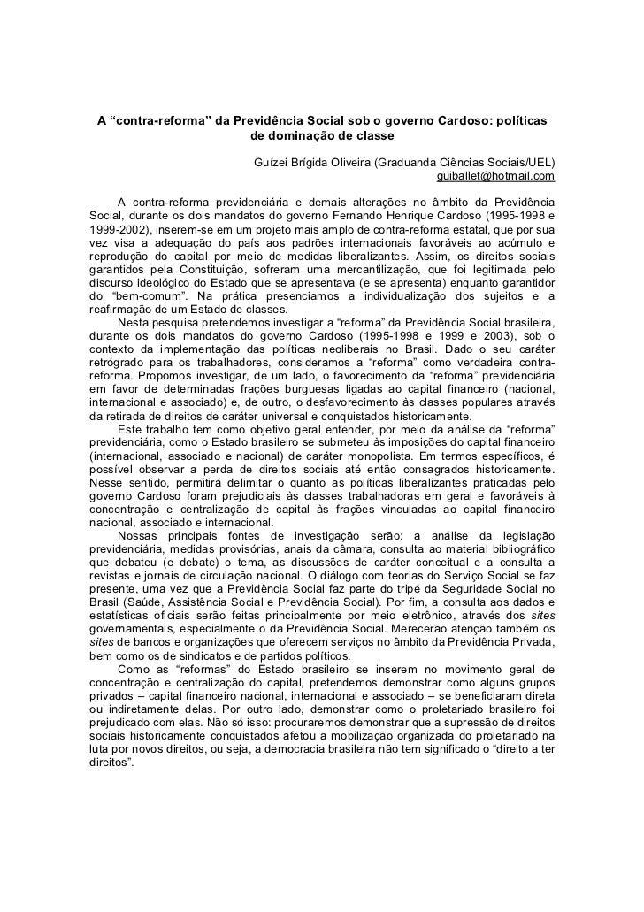 """A """"contra-reforma"""" da Previdência Social sob o governo Cardoso: políticas                          de dominação de classe ..."""