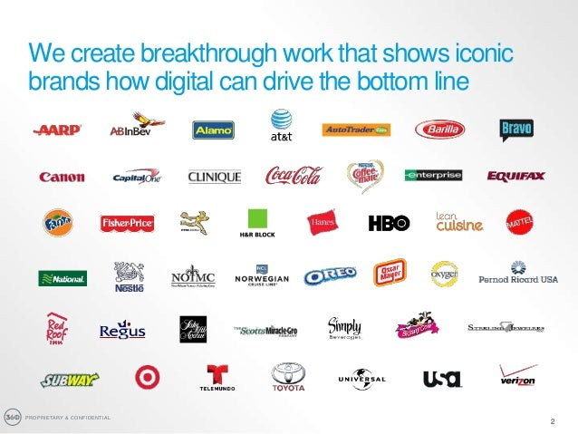 PROPRIETARY & CONFIDENTIAL 2 We create breakthrough work that shows iconic brands how digital can drive the bottom line 2