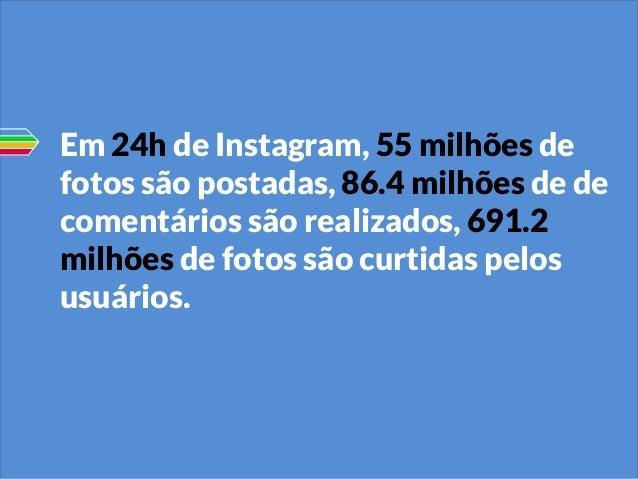 Em 24h de Instagram, 55 milhões de fotos são postadas, 86.4 milhões de de comentários são realizados, 691.2 milhões de fot...
