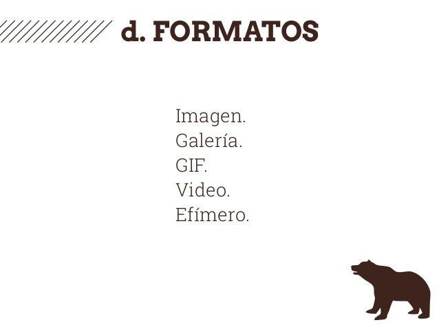 d. FORMATOS Imagen. Galería. GIF. Video. Efímero.