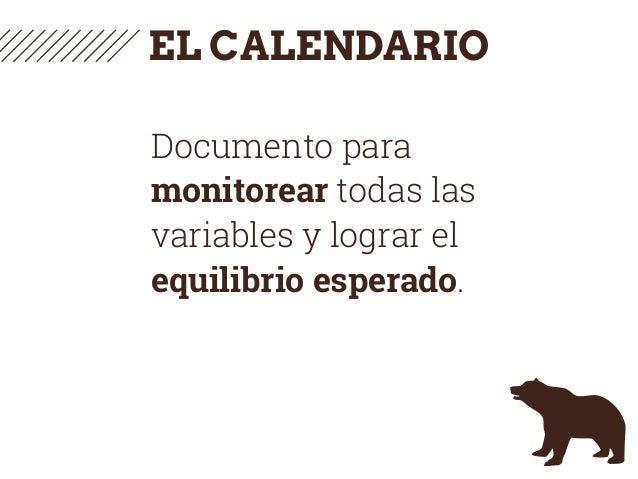 EL CALENDARIO Documento para monitorear todas las variables y lograr el equilibrio esperado.