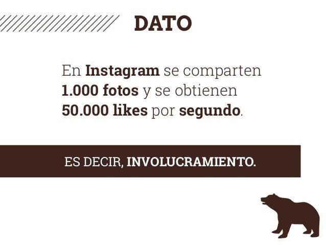 DATO En Instagram se comparten 1.000 fotos y se obtienen 50.000 likes por segundo. ES DECIR, INVOLUCRAMIENTO.