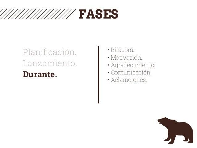 Planificación. Lanzamiento. Durante. • Bitacora. • Motivación. • Agradecimiento. • Comunicación. • Aclaraciones. FASES
