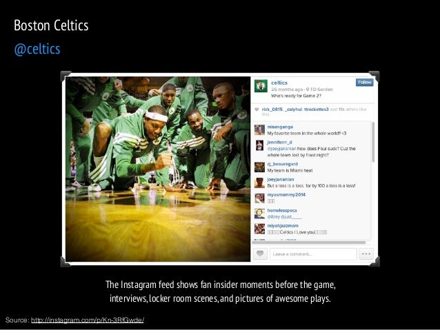 The Instagram feed shows fan insider moments before the game,  interviews, locker room scenes, and pictures of awesome pla...