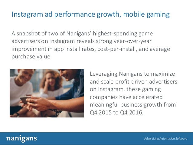 Advertising Automation Software Instagram ad performance growth, mobile gaming A snapshot of two of Nanigans' highest-spen...