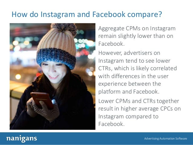 Advertising Automation Software How do Instagram and Facebook compare? Aggregate CPMs on Instagram remain slightly lower t...