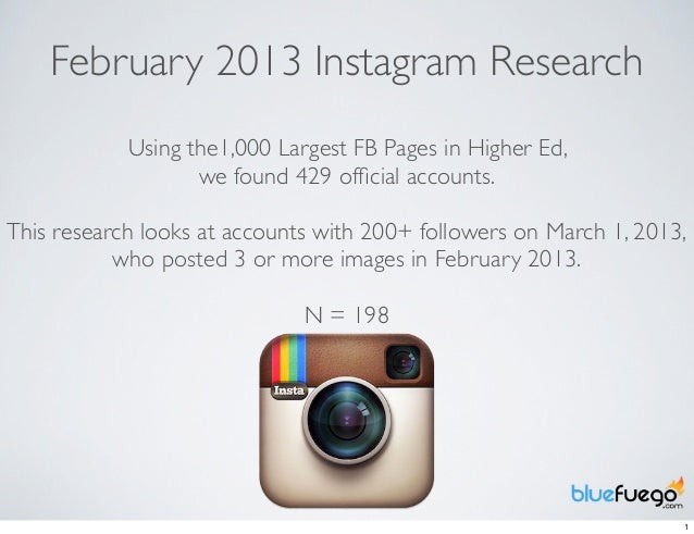 February 2013 Instagram Research            Using the1,000 Largest FB Pages in Higher Ed,                   we found 429 o...