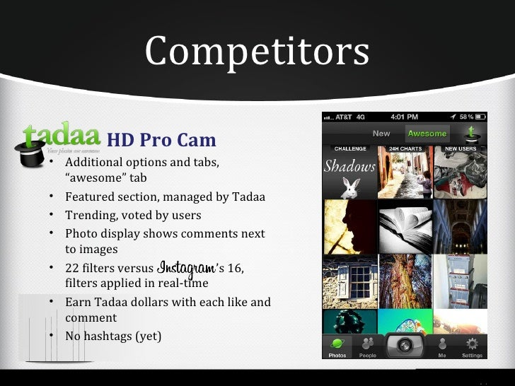 """Competitors          HD Pro Cam• Additional options and tabs,  """"awesome"""" tab• Featured section, managed by Tadaa• Trending..."""
