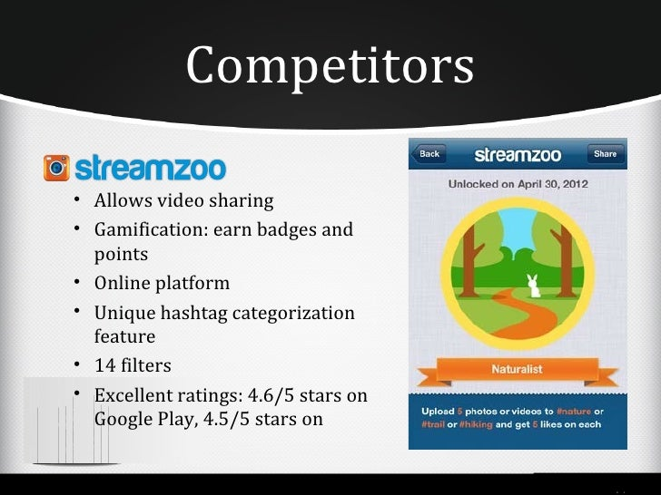 Competitors• Allows video sharing• Gamification: earn badges and  points• Online platform• Unique hashtag categorization  ...