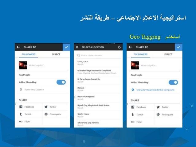 االعالم استراتيجيةاالجتماعي–النشر طريقة استخدمGeo Tagging