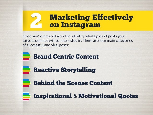2  Marketing Effectively on Instagram  Once you've created a profile, identify what types of posts your target audience wil...