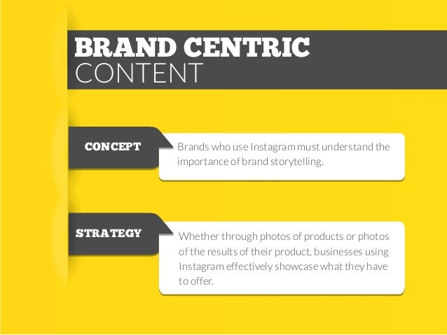 BRAND CENTRIC CONTENT CONCEPT  Brands who use Instagram must understand the importance of brand storytelling.  STRATEGY  W...