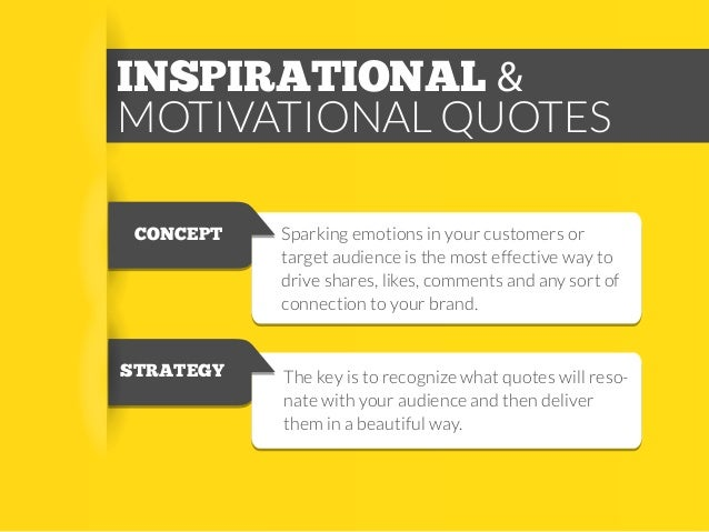 INSPIRATIONAL & MOTIVATIONAL QUOTES CONCEPT  STRATEGY  Sparking emotions in your customers or target audience is the most ...