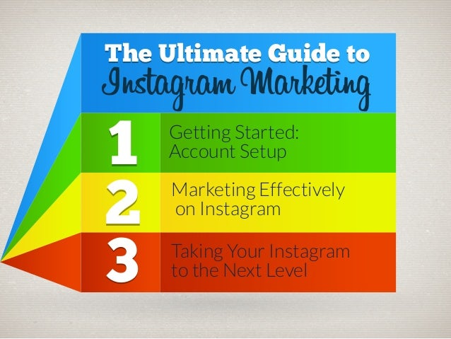The Ultimate Guide to  Instagram Marketing  1 2 3  Getting Started: Account Setup  Marketing Effectively on Instagram Taki...
