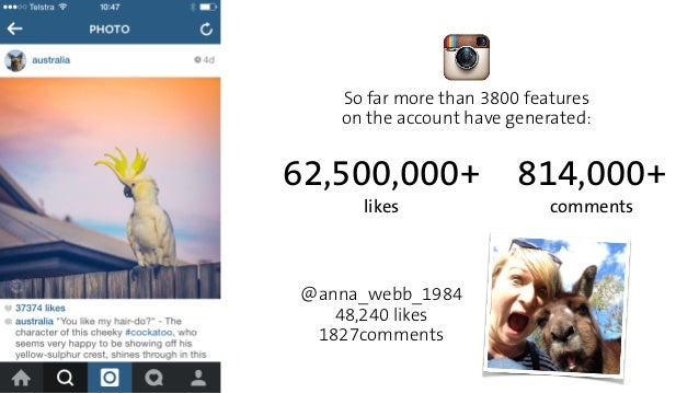 So far more than 3800 features  on the account have generated:  62,500,000+  likes  @anna_webb_1984  48,240 likes  1827com...