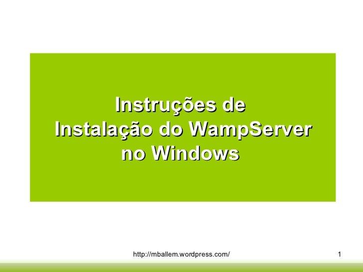 Instruções de  Instalação do WampServer no Windows