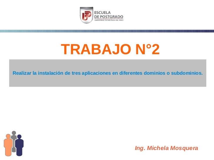 TRABAJO N°2Realizar la instalación de tres aplicaciones en diferentes dominios o subdominios.                             ...