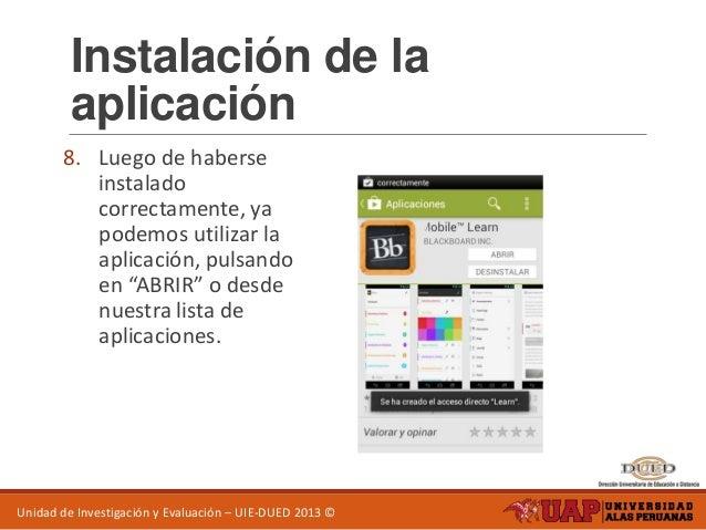 Manual de instalación blackboard mobile learn android.