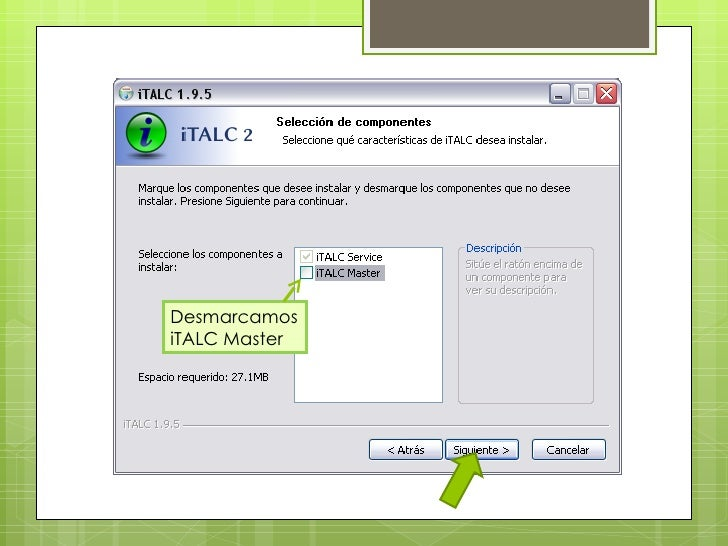 Desmarcamos iTALC Master