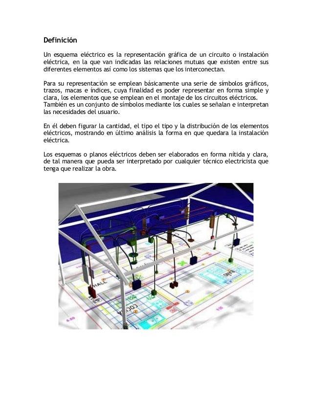 DefiniciónUn esquema eléctrico es la representación gráfica de un circuito o instalacióneléctrica, en la que van indicadas...