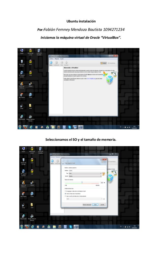 """Ubuntu instalación Por:Fabián Fernney Mendoza Bautista 1094271234 Iniciamos la máquina virtual de Oracle """"VirtualBox"""". Sel..."""