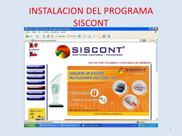 INSTALACION DEL PROGRAMA          SISCONT                                1