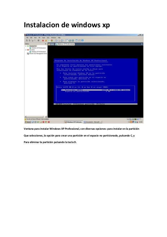 Instalacion de windows xpVentana para instalar Windows XP Professional, con diversas opciones: para instalar en la partici...