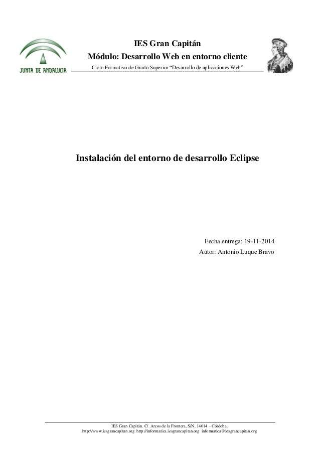 Instalación De Entorno De Desarrollo Eclipse