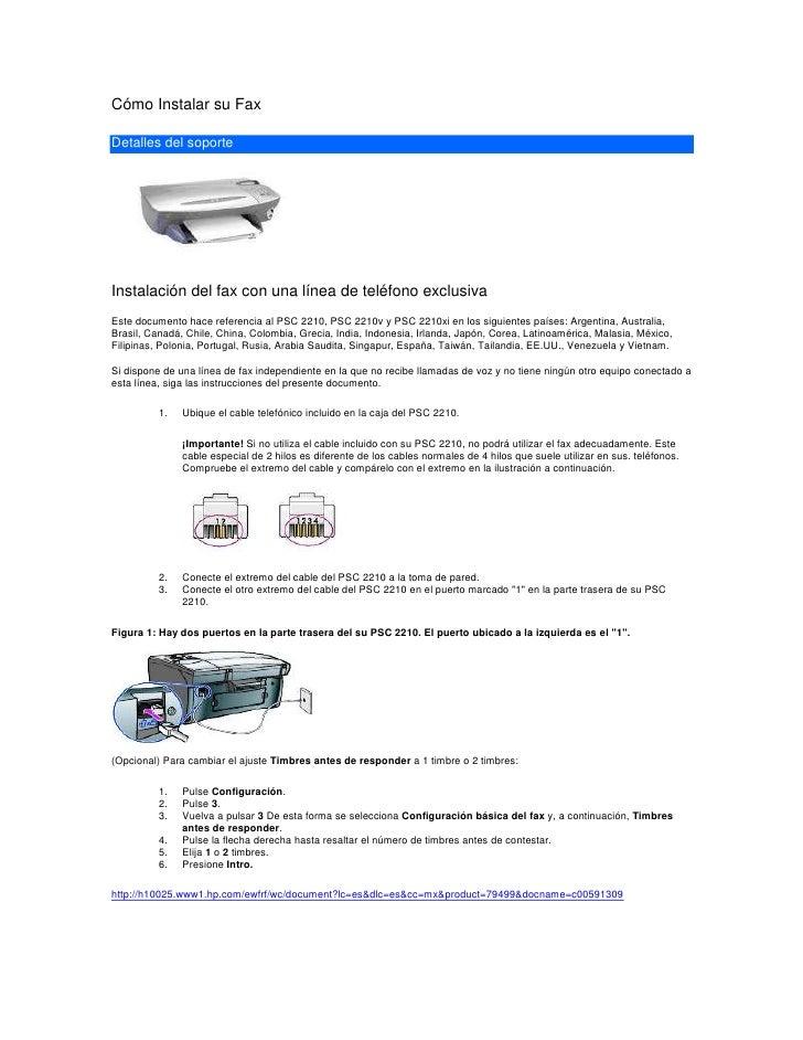 Cómo Instalar su Fax<br />Detalles del soporte<br />Instalación del fax con una línea de teléfono exclusiva<br />Este docu...