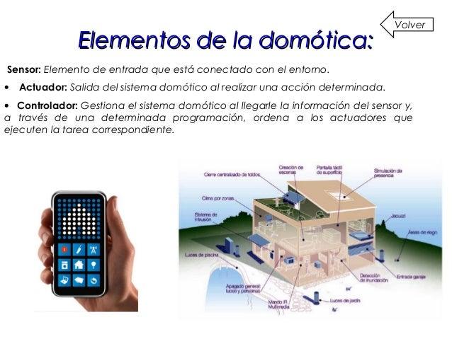 Características del sistemaCaracterísticas del sistema domótico:domótico: Volver • La ubicación de los elementos de contr...