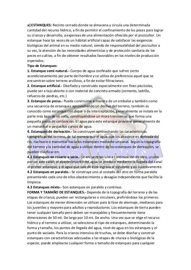 Instalaciones para el cultivo de trucha for Proyecto de crianza de truchas pdf