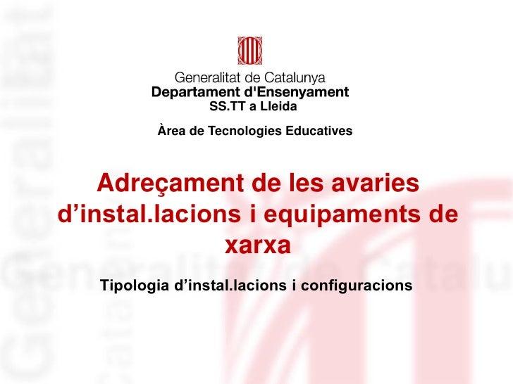 SS.TT a Lleida          Àrea de Tecnologies Educatives    Adreçament de les avariesd'instal.lacions i equipaments de      ...