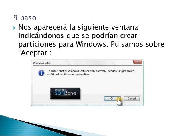 11 paso  Una vez hechas todas las particiones que queremos, seleccionamos la partición donde queramos instalar Windows 8 ...