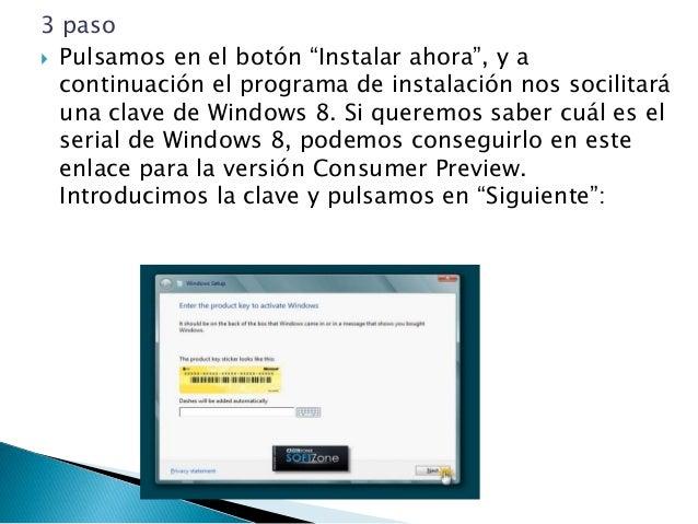 5 paso  Ahora el programa de instalación nos da a elegir si queremos actualizar a Windows 8 desde una versión anterior de...
