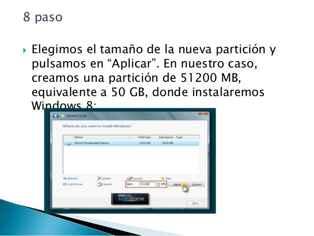 10 paso  Se habrá creado una partición del tamaño especificado, además de una partición reservada para Windows, con un ta...
