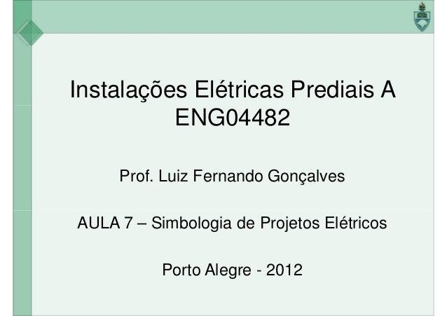 Instalações Elétricas Prediais A ENG04482ENG04482 Prof. Luiz Fernando Gonçalves AULA 7 – Simbologia de Projetos Elétricos ...