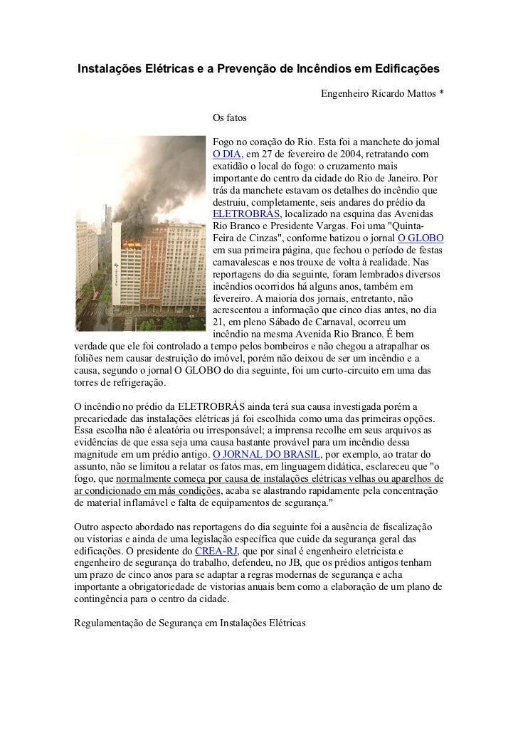 Instalações Elétricas e a Prevenção de Incêndios em Edificações                                                           ...