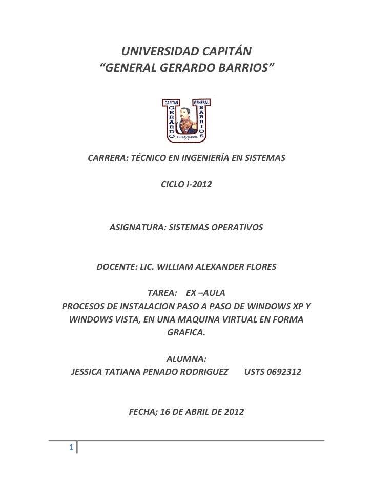 """UNIVERSIDAD CAPITÁN       """"GENERAL GERARDO BARRIOS""""     CARRERA: TÉCNICO EN INGENIERÍA EN SISTEMAS                    CICL..."""