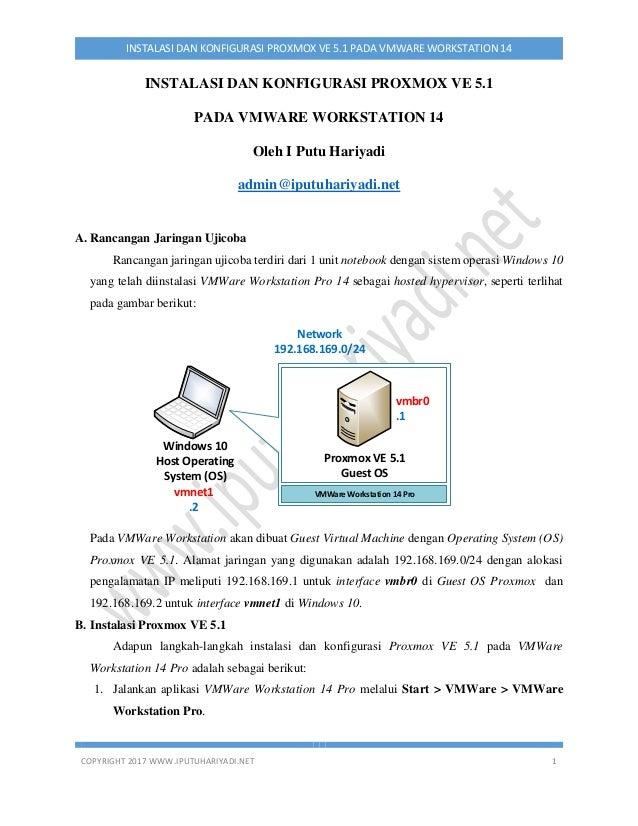COPYRIGHT 2017 WWW.IPUTUHARIYADI.NET 1 INSTALASI DAN KONFIGURASI PROXMOX VE 5.1 PADA VMWARE WORKSTATION 14 INSTALASI DAN K...