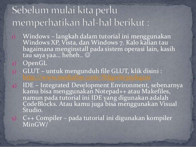 Instalasi OpenGL – GLUT Slide 3