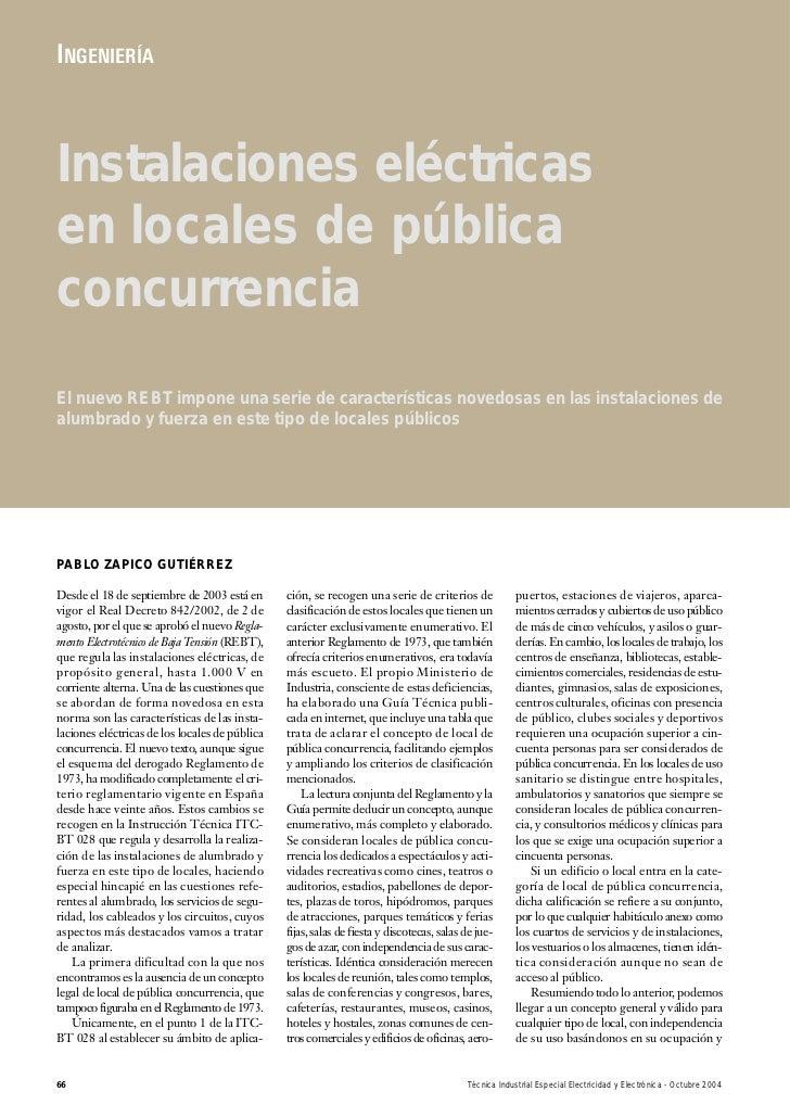 INGENIERÍAInstalaciones eléctricasen locales de públicaconcurrenciaEl nuevo REBT impone una serie de características noved...