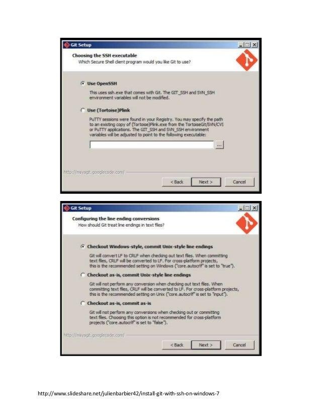 http://www.slideshare.net/julienbarbier42/install-git-with-ssh-on-windows-7