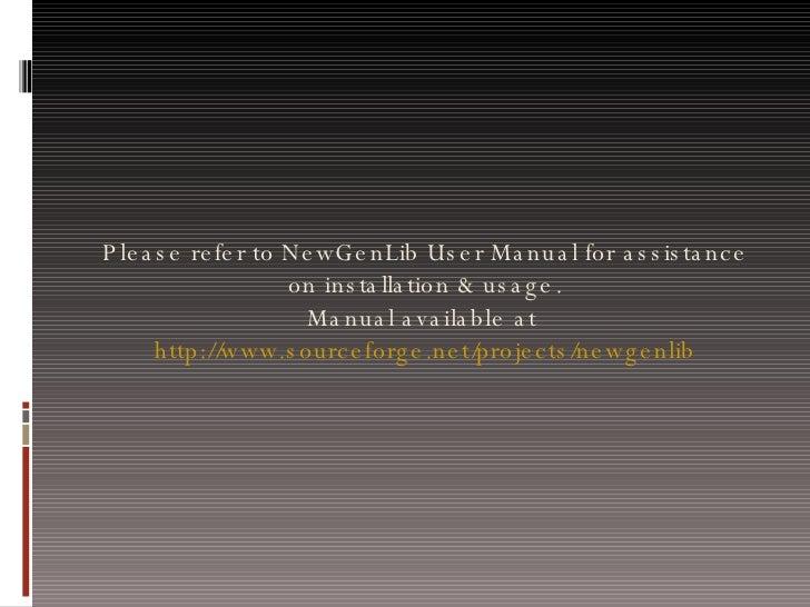 Install NewGenLib on Windows XP